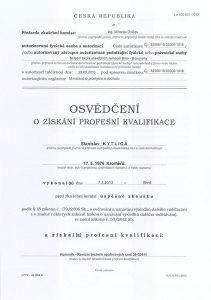 """Osvědčení o získání profesní kvalifikace """"kominík - Revizní technik spalinových cest 36-024-H""""."""